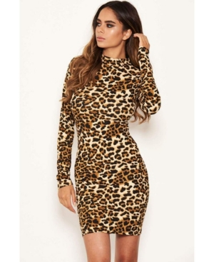 Leopard Print High Neck Bodycon Mini Dress