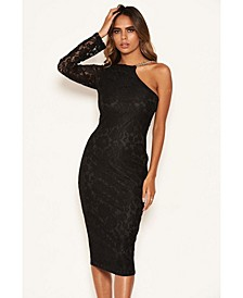 Women's Lace One Shoulder Dress with Chain Detail