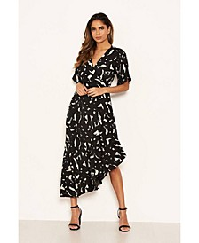 Women's Printed Wrap Side Frill Dress
