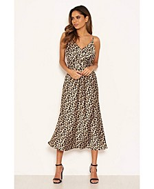 Women's Leopard Print Silky Midi Dress