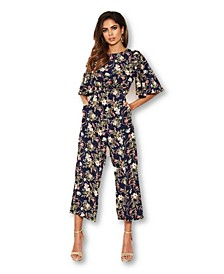 Women's Flared Leg Floral Jumpsuit
