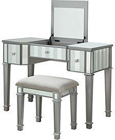 Boise Lift-Top Mirror Vanity Set, Silver Finish