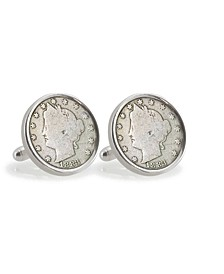 Liberty Nickel Sterling Silver Coin Cuff Links