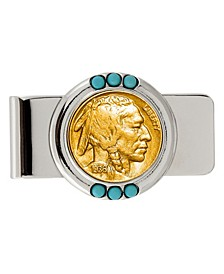 Gold-Layered Buffalo Nickel Turquoise Coin Money Clip