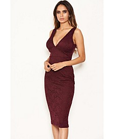 Women's Lace Detail Bodycon Midi Dress