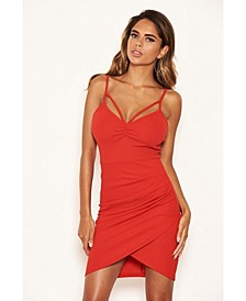 Women's Strappy Ruched Bodycon Dress