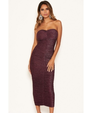 Women's Strapless Ruched Bodycon Midi Dress