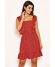 Women's Printed Square Neck Frilled Dress