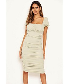 Women's Puff Sleeve Ruched Bodycon Midi Dress