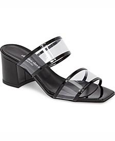 Cally Vinyl Block-Heel Sandals