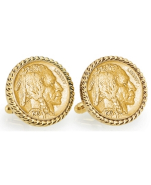 Gold-Layered 1913 First-Year-Of-Issue Buffalo Nickel Rope Bezel Coin Cuff Links