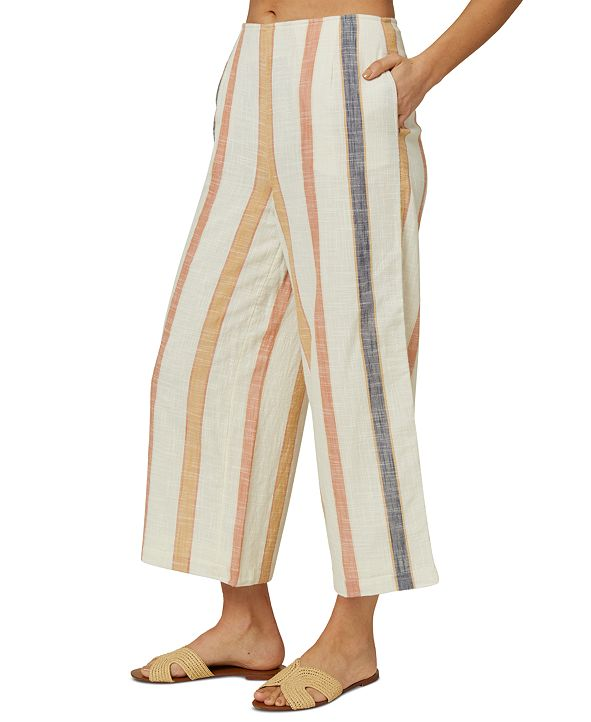 O'Neill Juniors' Colada Cotton Striped Wide-Leg Pants
