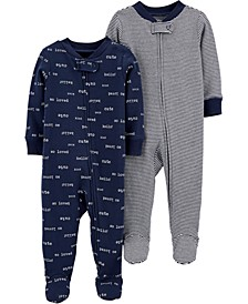 Baby Boys 2-Pc. Footed Cotton Coverall Set