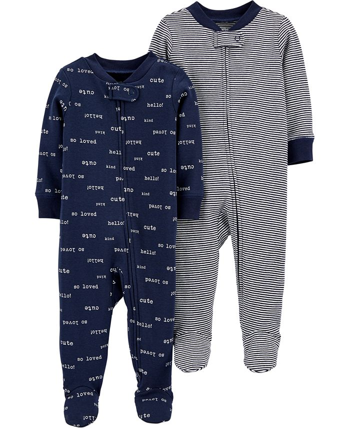 Carter's - Baby Boys 2-Pc. Footed Cotton Coverall Set