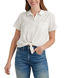 Tie-Front Collared Shirt