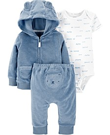 Baby Boys 3-Pc. Printed Bodysuit, Bear Hoodie & Pants Set