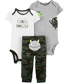 Baby Boys 3-Pc. Cuddle Monster Cotton Bodysuits & Pants Set
