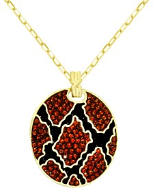 """Crystal Animal Print Disc Pendant Necklace in Gold-Plate, 16"""" + 2"""" extender"""