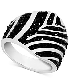 Crystal Zebra Print Statement Ring in Fine Silver-Plate