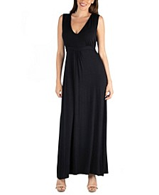 V-Neck Sleeveless Maxi Dress with Belt