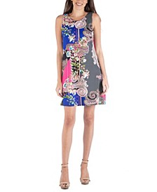 Multi Print Pattern Sleeveless Shift Dress