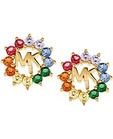 14k Gold-Plated Sterling Silver Multicolor Cubic Zirconia Logo Stud Earrings