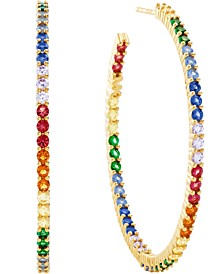 Gold-Tone Sterling Silver Medium Multicolor Cubic Zirconia Hoop Earrings, 1.62""