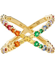 Gold-Tone Sterling Silver Multicolor Cubic Zirconia Crisscross Ring