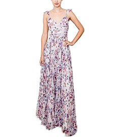 Juniors' Pleated Floral Gown