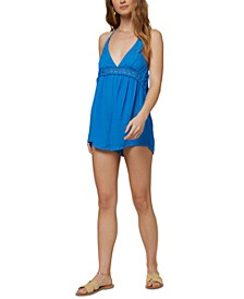 Juniors' Fiesta Open-Back Romper Cover-Up