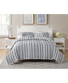 Dover Stripe 3-Piece Full/ Queen Poly Cotton Quilt Set