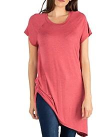 Capped Sleeve T-Shirt with Asymmetric Hemline