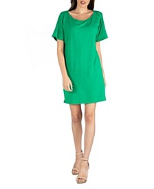 Women's Loose Fit T-Shirt Dress with Boat Neck