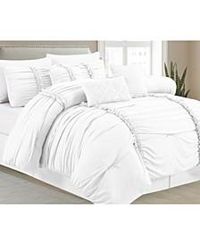 Pleated 7 Piece Comforter Set, Queen