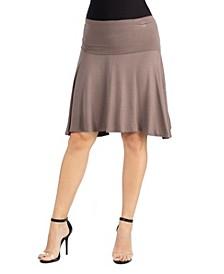 A-Line Band Waist Knee Length Skirt