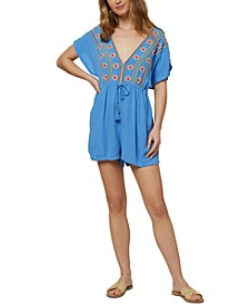 Juniors' Finnie Embroidered Romper Cover-Up