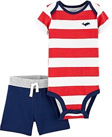 Baby Boys 2-Pc. Stripe Bodysuit & Colorblocked Shorts Set