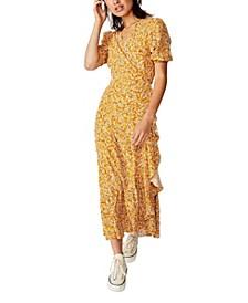 Woven Ri Ruffle Wrap Maxi Dress