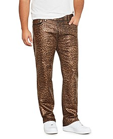 Men's Big Tall Leopard Print Wax Straight Fit Jeans