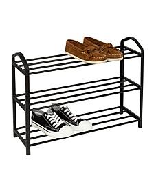 3-Shelf Black Wire Shoe Rack
