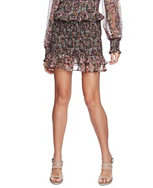 Smocked Floral-Print Skirt