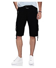 Men's Belted Zipper Detail Cargo Short