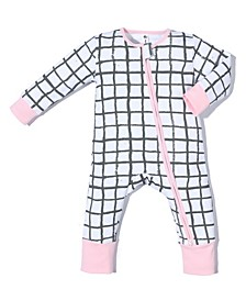 Baby Girls Bamboo Cotton Blend 2 Way Zippy Grid Coverall