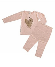 Baby Girls Bamboo Long Sleeve 2 Piece Golden Dream Big Pajamas Set