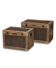 Clement Rustic Transitional 2 Piece Spindle Storage Trunk Set