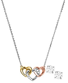 14k Rose Gold-Plated Sterling Silver Cubic Zirconia Heart Trio Pendant Necklace & Stud Earrings Set