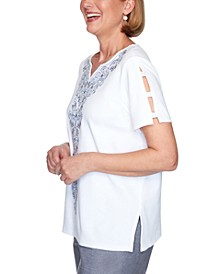Petite Bella Vista Embroidered Top