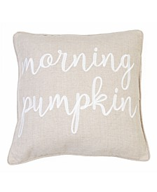 "Morning Pumpkin 20"" x 20"" Embroidered Decorative Pillow"