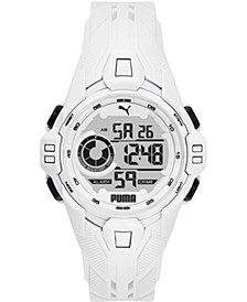 Men's Bold White Silicone Strap Watch 45mm