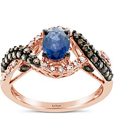 Blueberry Sapphire™ (5/8 ct. t.w.) & Diamond (1/2 ct. t.w.) Ring in 14k Rose Gold